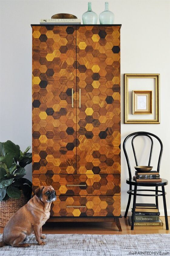 s the 19 top furniture flips of 2019, The old chipboard armoire covered in wood hexagons