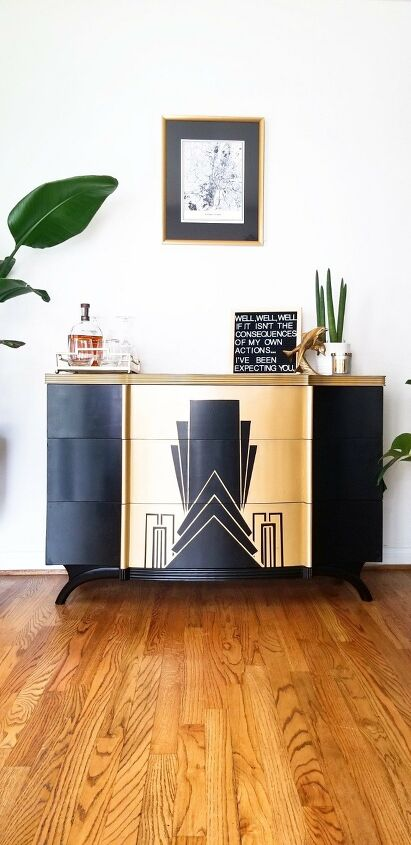 s the 19 top furniture flips of 2019, The dresser with good bones that got an art deco paint job