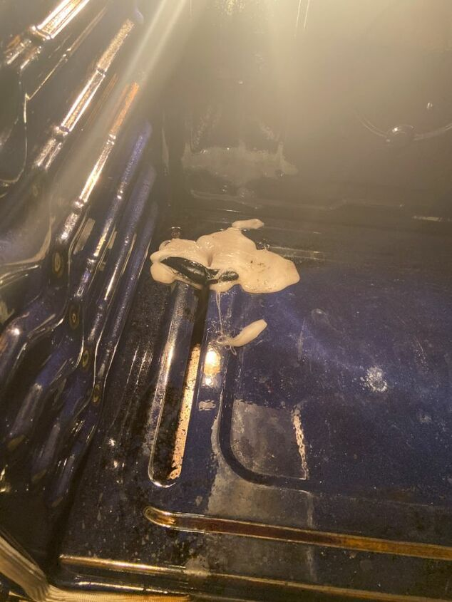 q gas oven accidentally melted plastic cup