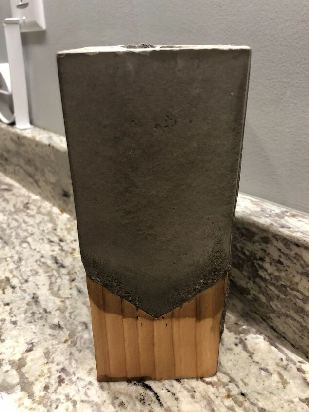 concrete and wood vase or pen pencil holder