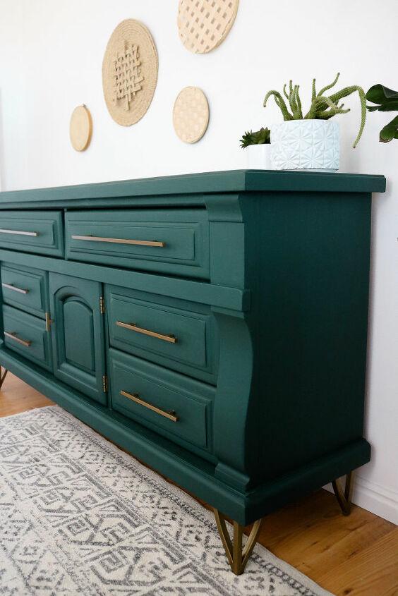 old dresser upcycle hunter green brass