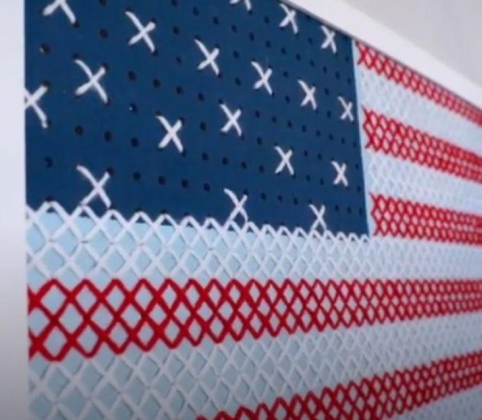 turn a giant pegboard into stunning cross stitch wall art