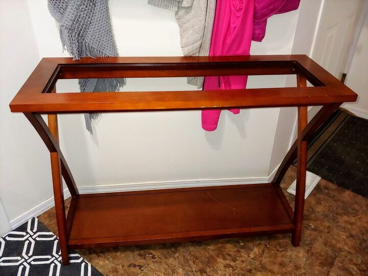 sofa table re purposed to a tv stand