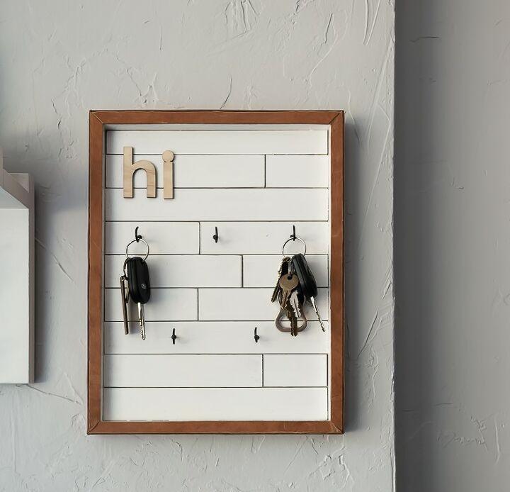 diy key holder with modern farmhouse style