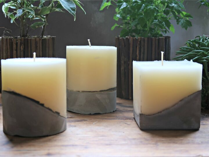 s 10 insanely cool projects that we can t wait to try in 2020, Concrete base candles