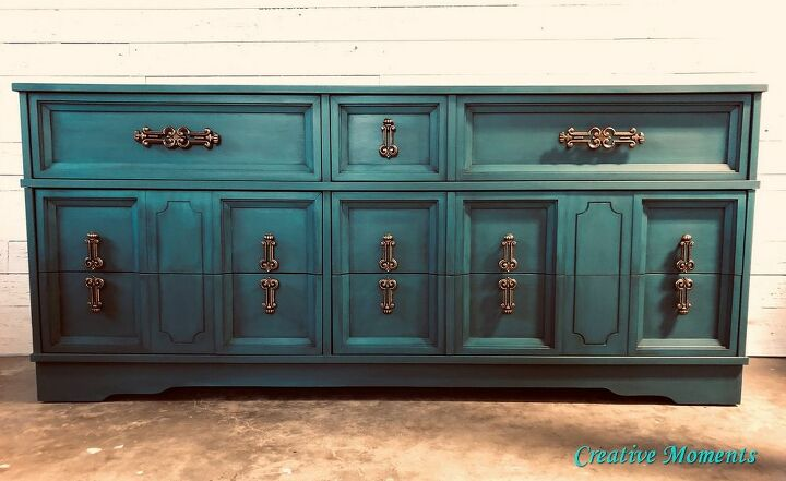 teal ombre dresser as tv stand