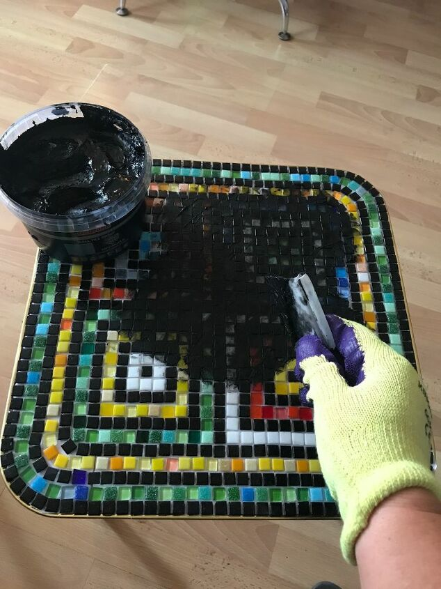 Grout the tiles