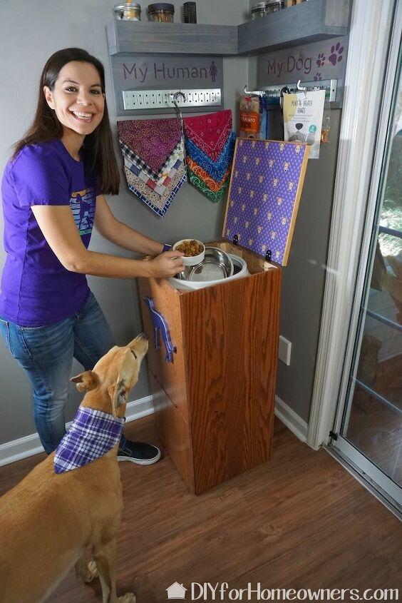 diy raised pet food storage
