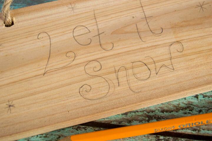 wood burn let it snow craft