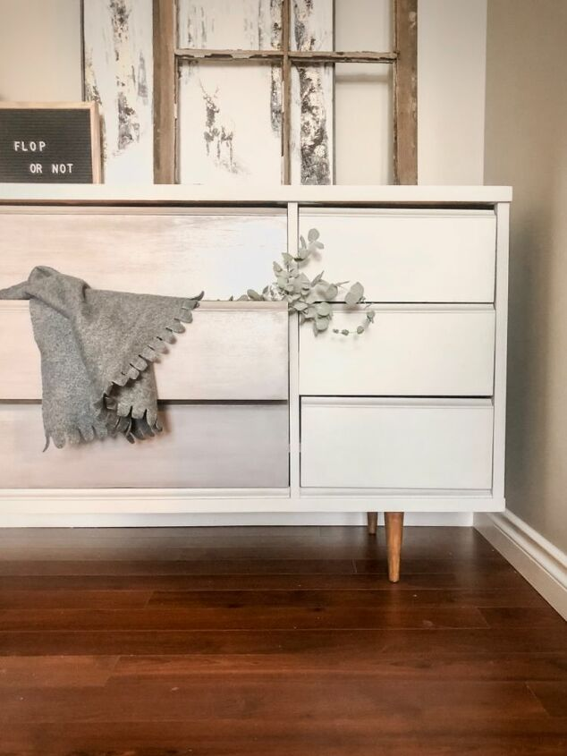 mid century dresser in greys upcycle