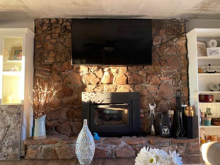 q help moss rock fireplace makeover