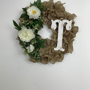 Friendly burlap monogram wreath
