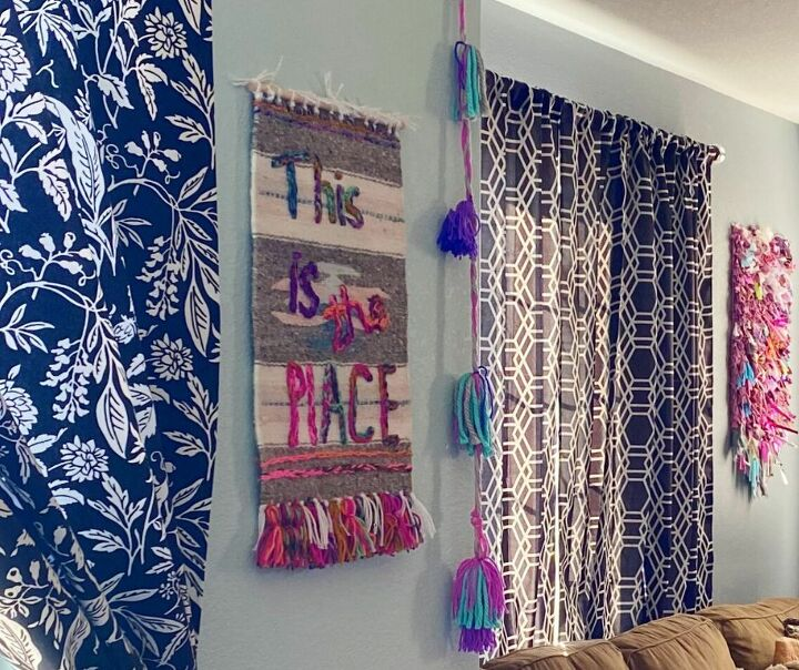 embroidered woven wall hanging