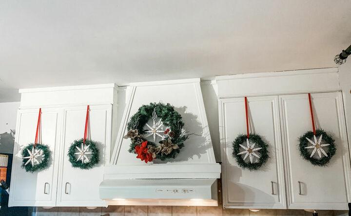 DIY Kitchen Cabinet Snowflake Wreaths