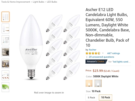 LED Bulbs for Chandeliers