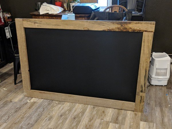 diy huge wall chalk board with barn board frame