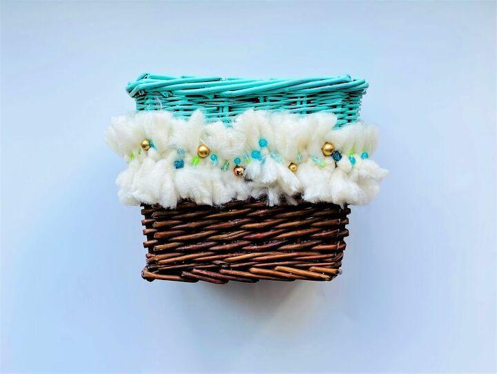 beaded fringe basket makeover