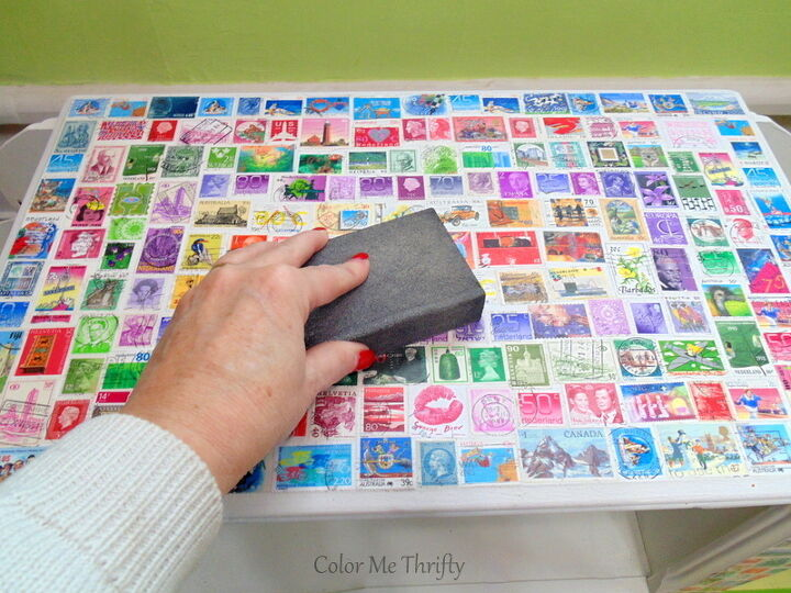 table makeover with postage stamps