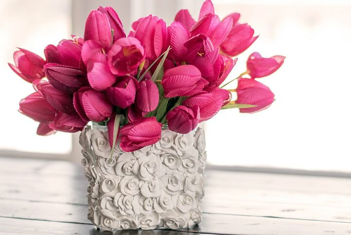 s 10 cute clay crafts you need to do this weekend, Upgrade a glass vase with tiny clay rosettes