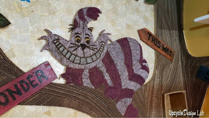 cardboard cheshire cat wall art extreme upcycling craft room makeover