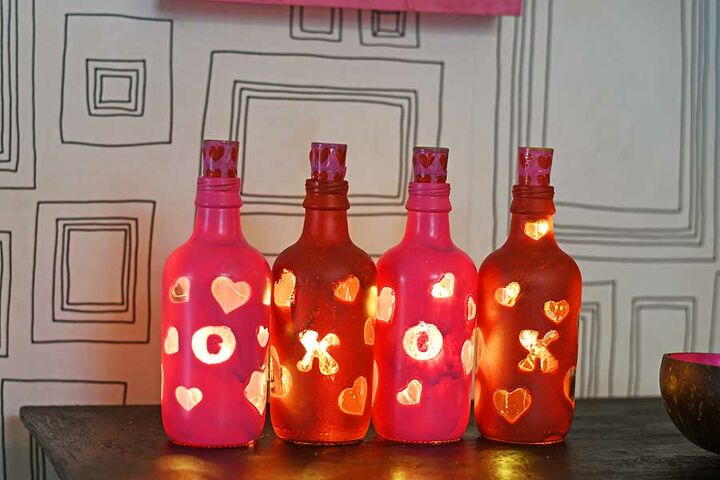 fun upcycled valentine s bottle lights