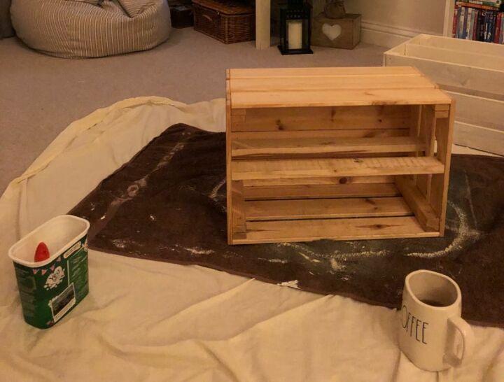 wooden crate shoe storage