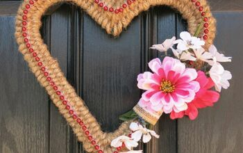 Farmhouse Valentine's Day Wreath Made With Christmas Garland