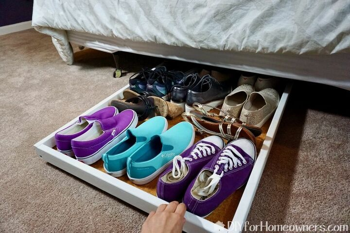 under the bed slide out shoe storage