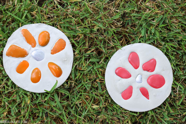rainbow flower step stones