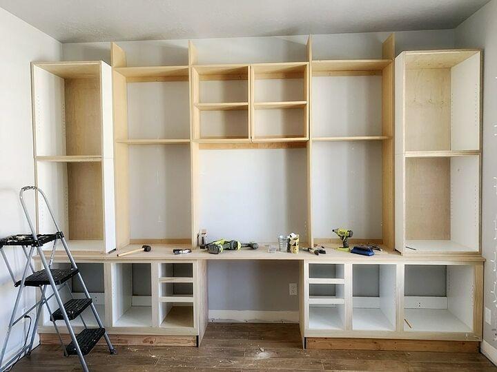 gorgeous diy office built ins reveal