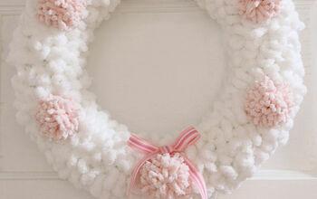 Loopy Yarn & Pom Pom Wreath for Valentine's Day