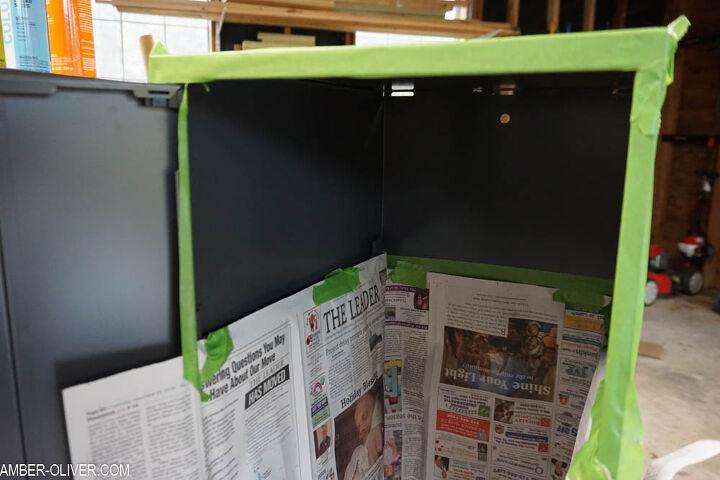 painted metal storage cabinet