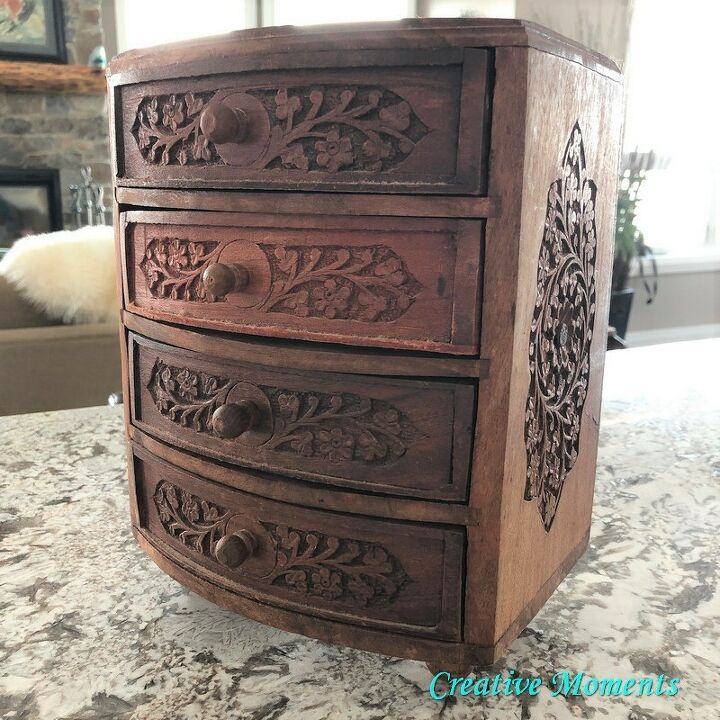 painting a hand carved wooden jewelry box in farmhouse white