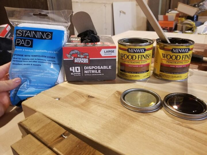 Staining supplies. Not shown: empty can