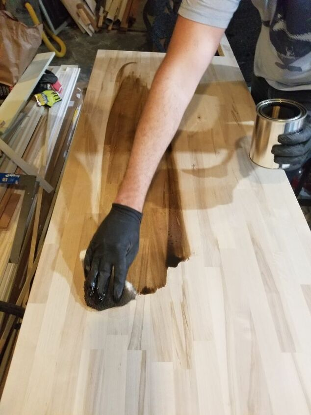 Staining the butcher block