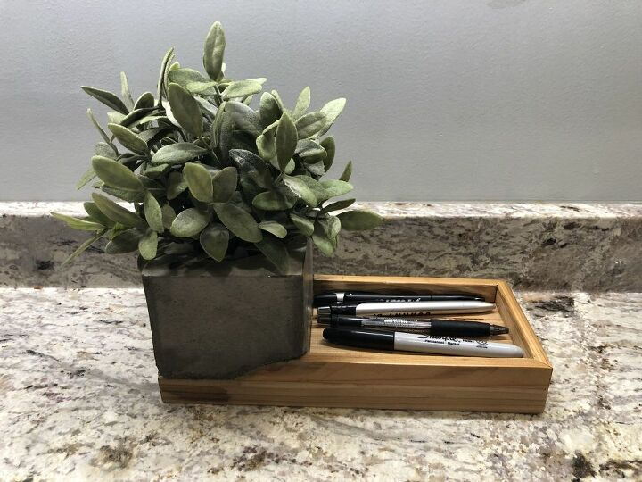 concrete and wood desk organizers
