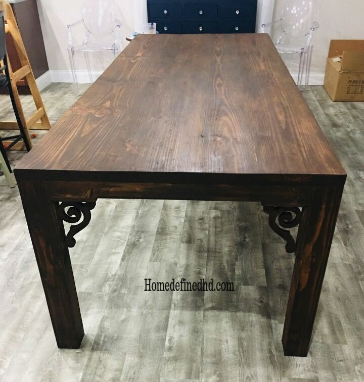 how to refinish your dining table for a more updated look, Before