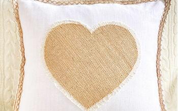 No Sew Burlap Heart Pillow With Fringe Edge