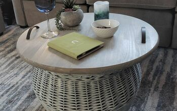 DIY Wicker Storage Basket Tray Table