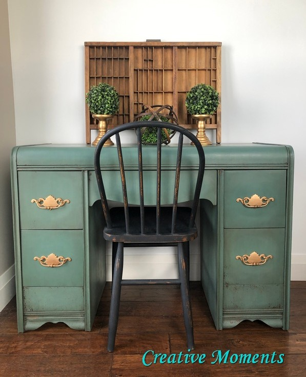 gorgeous green antique waterfall vanity makeover