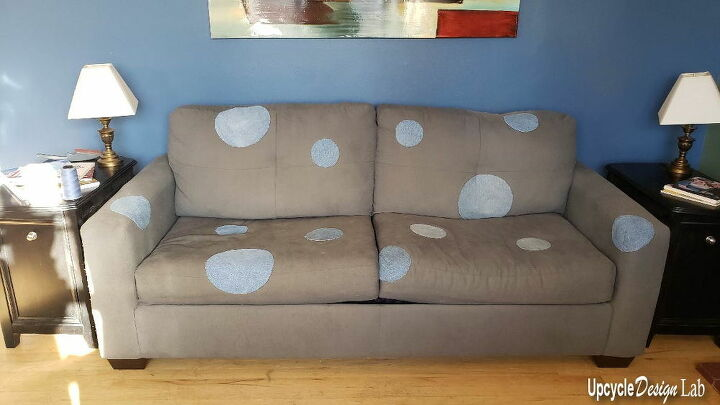 upcycled couch painting upholstery for the first time