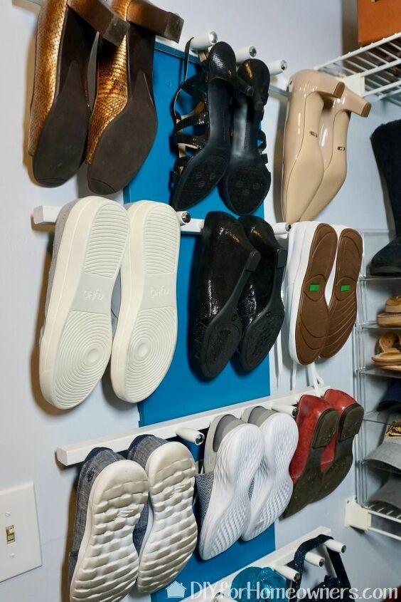 diy vertical shoe storage from two crib rails