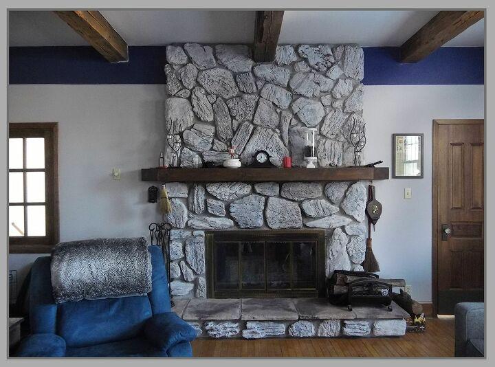 whitewashing a dark fireplace