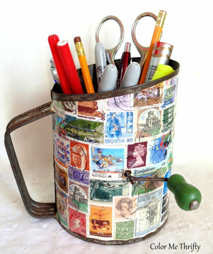 vintage sifter repurposed as pencil holder