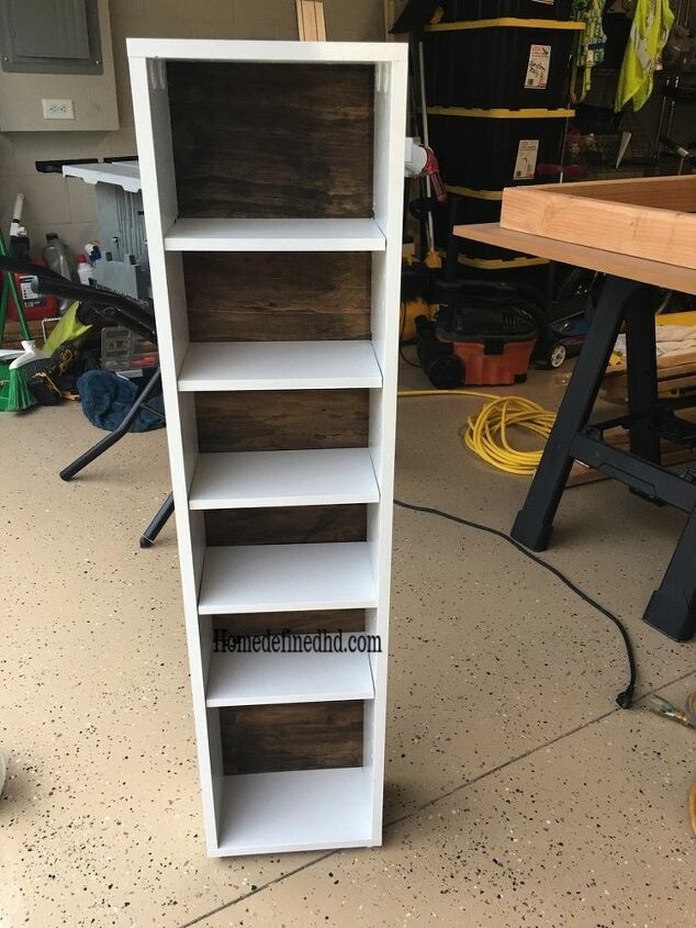 painting laminate furniture cd rack makeover