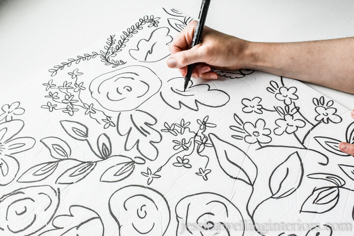 diy faux wallpaper with a sharpie
