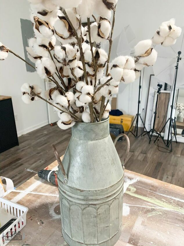 Cotton Stems and Galvanized Can Decor