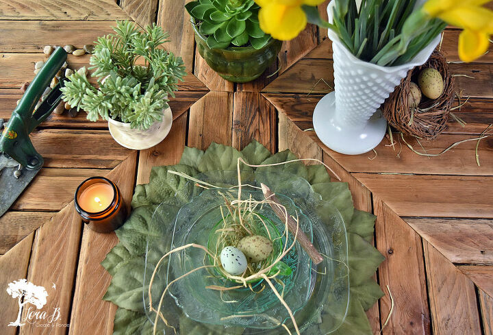 diy leafy chargers placemats