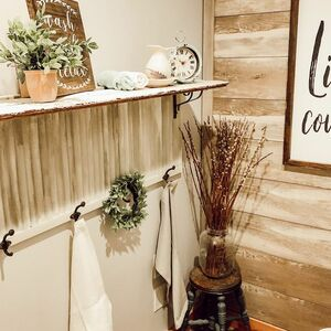 Bathroom shutter shelf