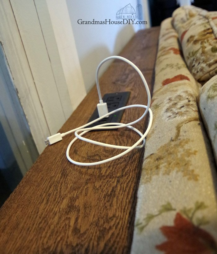 adding a skirt to my sofa table charging station